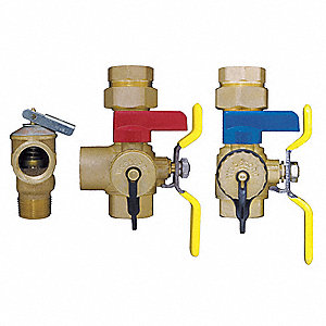 "Brass Tankless Water Heater Service Valve, 3/4"" Pipe Size, 398 to 500 psi"