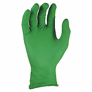 "Greens Disposable Gloves, Nitrile, Powder Free, L, 4 mil Palm Thickness, 9-1/2"" Length"