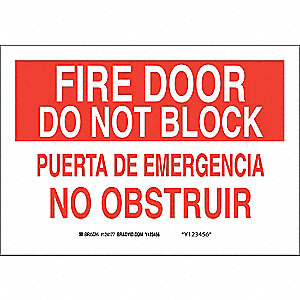 Fire Door Do Not Block / Puerta De Emergencia No Bloquear Sign