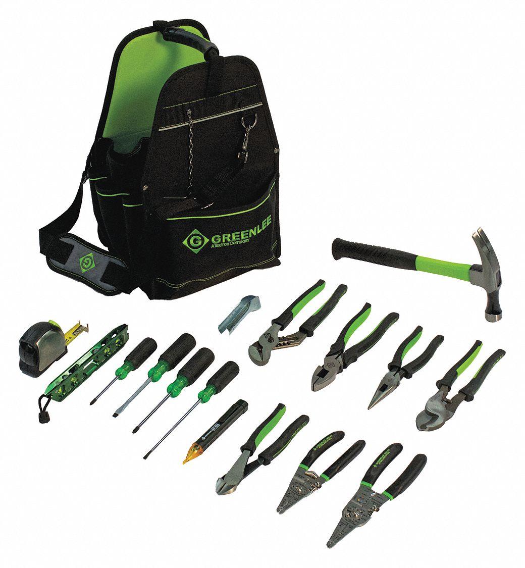 greenlee 17 pc electricians tool kit 416j65 0159 17elec grainger. Black Bedroom Furniture Sets. Home Design Ideas