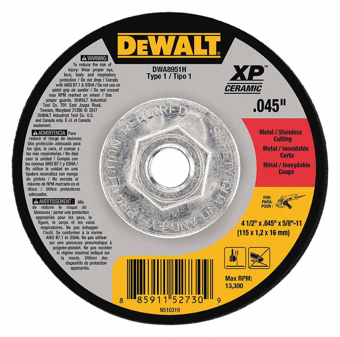 Dewalt 4 1 2 Quot Type 1 Ceramic Abrasive Cut Off Wheel 5 8