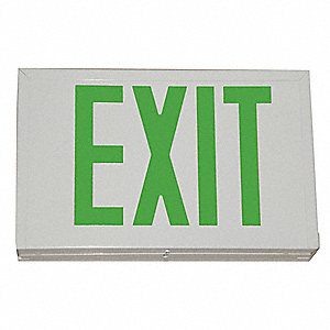 LED Exit Sign, White Housing Color, Steel Housing Material