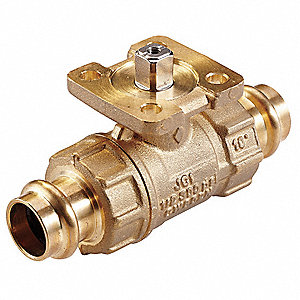 2-Way HVAC Control Ball Valve, Valve Only, Press End, Coefficient of Volume 11.7
