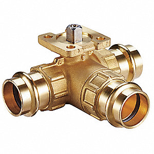 3-Way HVAC Control Ball Valve, Valve Only, Press End, Coefficient of Volume 1.9