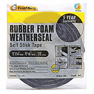 "Sponge Rubber, Adhesive Foam Seal, Black, 10 ft. Overall Length, 1-1/4"" Overall Width, 7/16"" Overall"