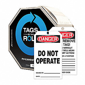 "10 mil Perforated Cardstock, Do Not Operate Danger Tag, 6-1/4"" Height, 3"" Width"