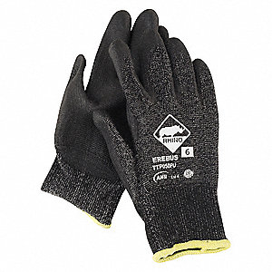 Polyurethane Cut Resistant Gloves, ANSI/ISEA Cut Level 4, Black, 8, PK 12