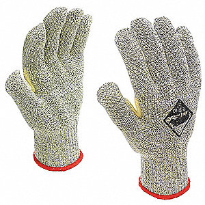 Uncoated, Cut Resistant Gloves, Green/Yellow, 7, PK 12