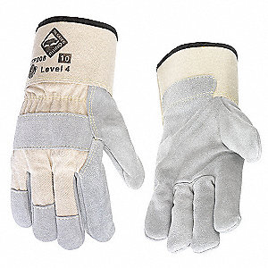Leather, Cut Resistant Gloves, Rhino Steel Core Cut Resistant Knit Lining, Gray/Cream, 8, PK 12