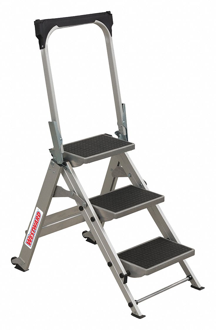 Westward Aluminum Folding Step 27 Quot Overall Height 300 Lb