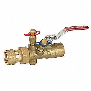 "1-1/4"" Manual Balancing Valve, Forged Brass, FNPT Connection, 600 psi WOG Max. Pressure"