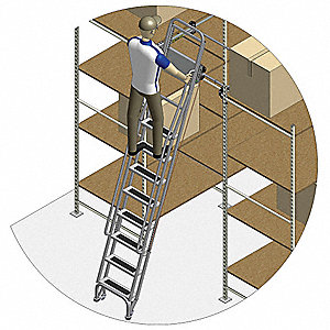 "Dual Track Ladder with Brake, 145"" to 155"" Track Mounting Height Range, Number of Steps: 12"