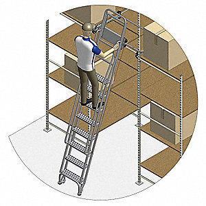 "Dual Track Ladder with Brake, 105"" to 115"" Track Mounting Height Range, Number of Steps: 8"