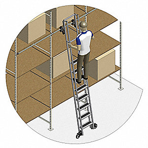 "Single Track Ladder, 75"" to 85"" Track Mounting Height Range, Number of Steps: 4"