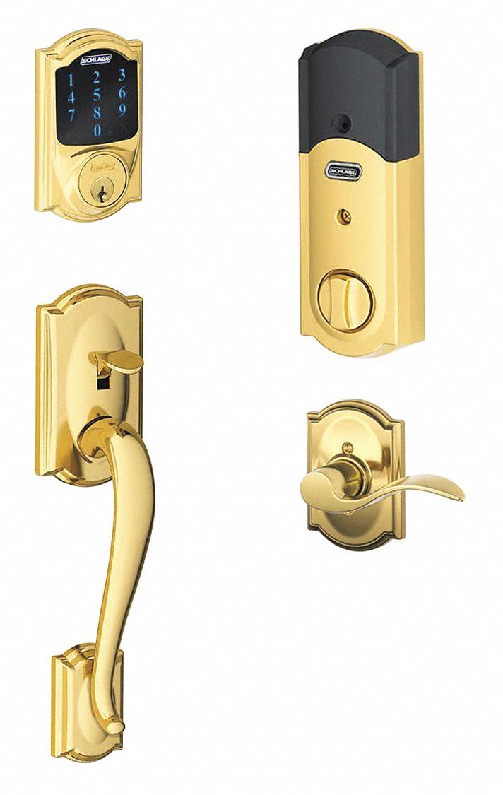 Schlage Residential Electronic Lock Bright Brass Entry