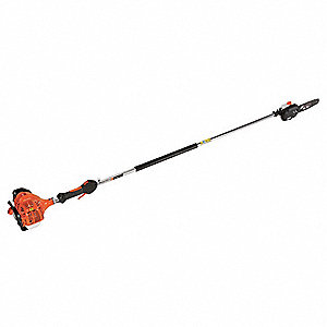 "Gas Powered Pole Saw, 21.2cc Engine Displacement, Recoil Starter Type, 10"" Bar Length"