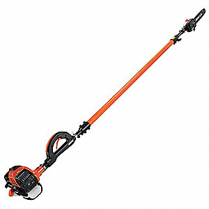"Gas Powered Pole Saw, 25.4cc Engine Displacement, Recoil Starter Type, 12"" Bar Length"