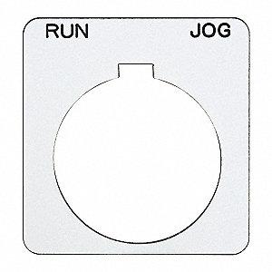 SCHNEIDER ELECTRIC Legend Plate,Square,Run-Jog,White
