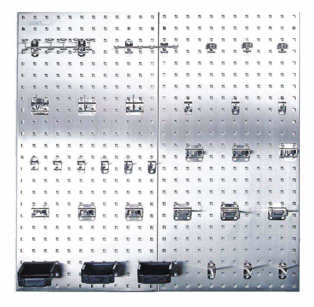 Locboard Stainless Steel Pegboard Panel Kit With 250 Lb
