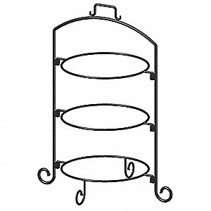Round Plate Stand,Black,Iron,3 Tier,12In