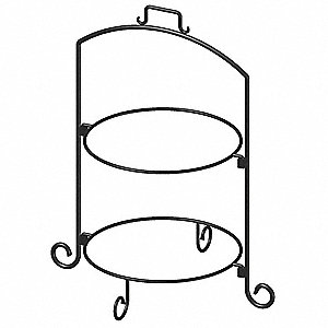 Square Plate Stand,Blk,Iron,2 Tier,14In
