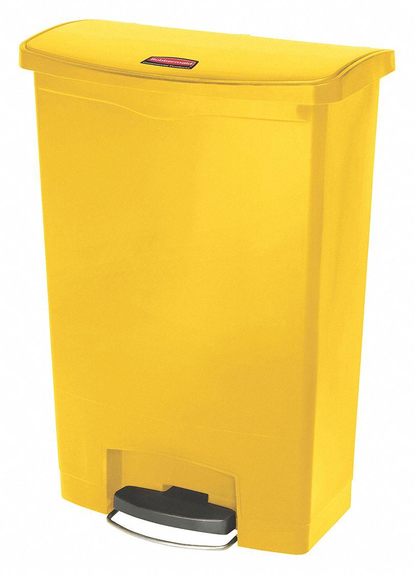 Rubbermaid trash can rectangular 24 gal yellow 45uz77 1883579 grainger - Rectangular garbage cans ...