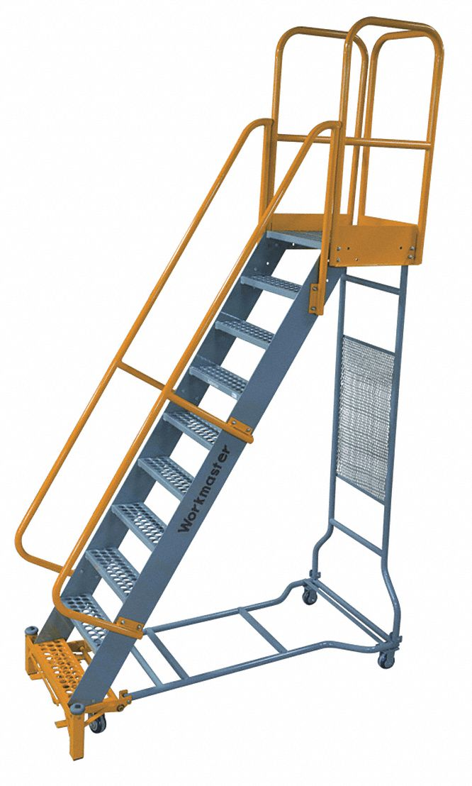 Cotterman 10 Step Rolling Ladder Perforated Step Tread