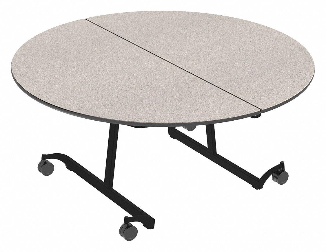 Palmer Hamilton 8 Seat Round Mobile Cafeteria Table Gray
