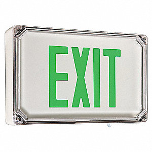 LED Exit Sign, White Housing Color, Cast Aluminum Housing Material