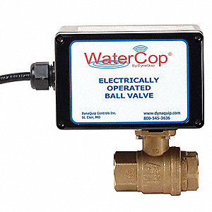 "Lead Free Brass Electronic Actuated Ball Valve, 3/4"" Pipe Size, 12 VDC Voltage"