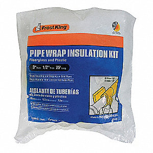 "Pipe Insulation Wrap, Fiberglass, 1/2"" Thickness, 3"" Width, 25 ft. Length"