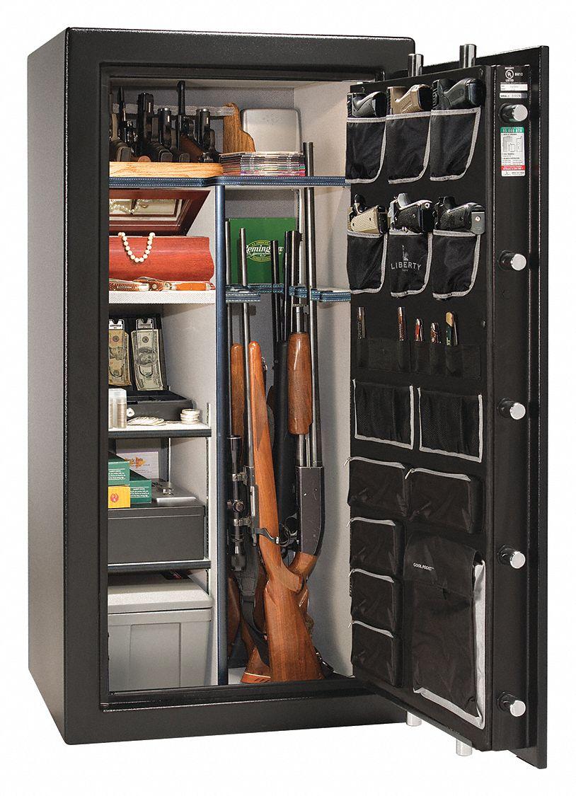 Black Gun Safe In Living Room Decor: LIBERTY SAFE Gun Safe,Black/Chrome,7 Shelves,735 Lb. - 48PP50