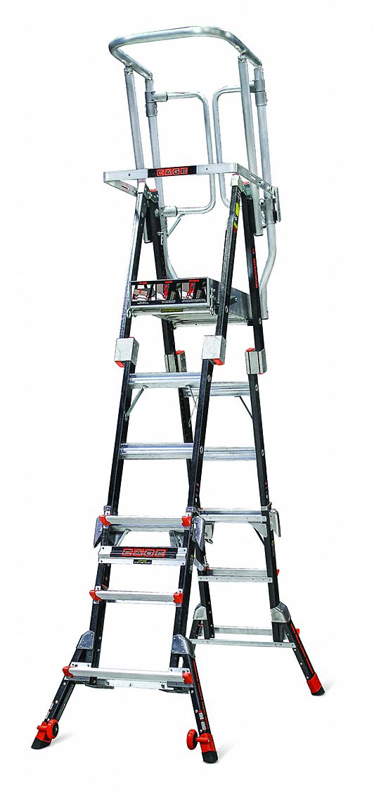 Little Giant Fiberglass Safety Cage Platform Ladder 4 To