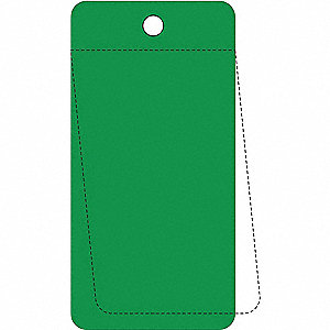 "Blank Tag, Green, Height: 3-1/4"" x Width: 5"", 25 PK"