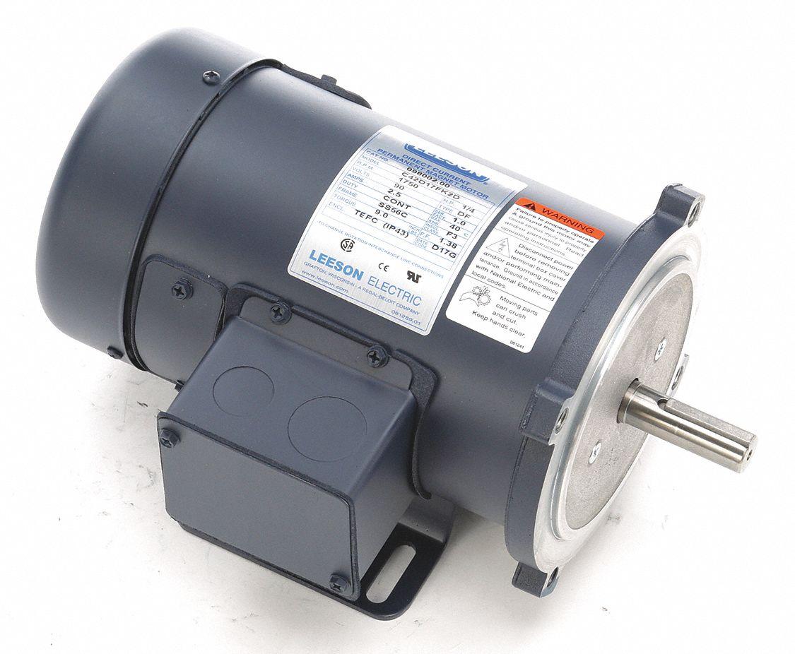Leeson Dc Permanent Magnet Motor 1 2 Hp 90vdc 48zg61