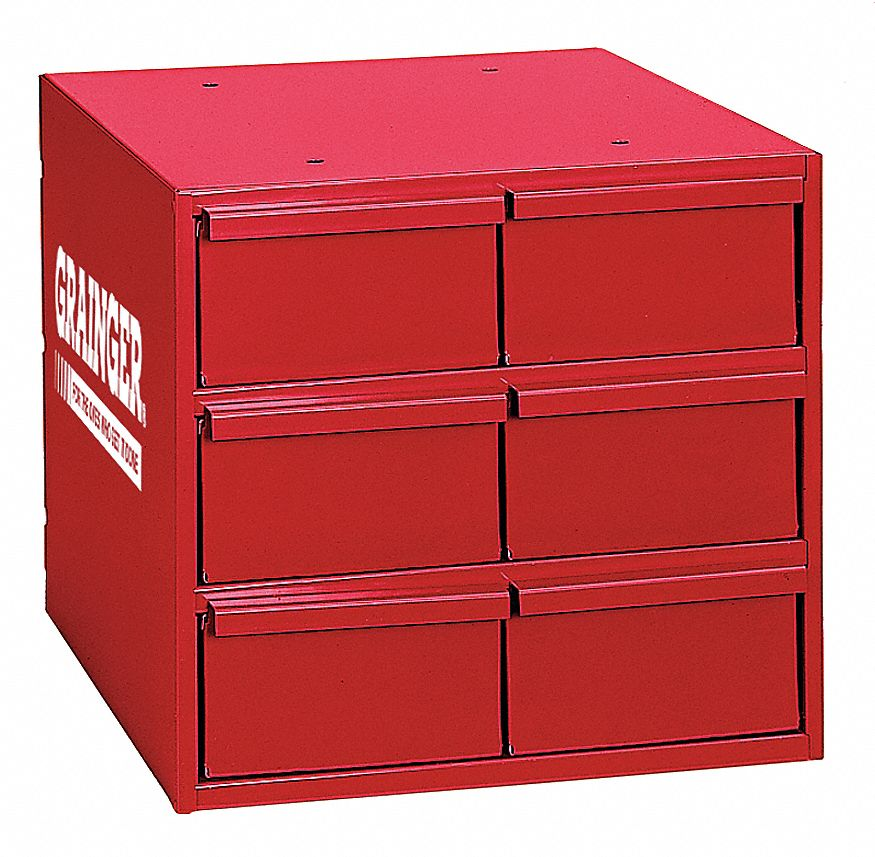 Durham Steel Drawer Bin Cabinet Esd Conductive No 12 W X 13 D X 12 H 6 Drawers Red 49h237