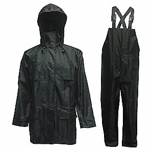 Men's Black 150D Rip-Stop Polyester 3-Piece Rainsuit with Detachable Hood, Size: XL, Fits Chest Size