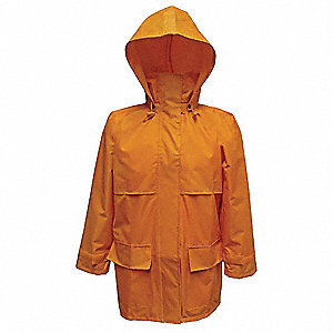 Men's Yellow 150D Rip-Stop Polyester Rain Jacket with Detachable Hood, Size 3XL, Fits Chest Size 55""