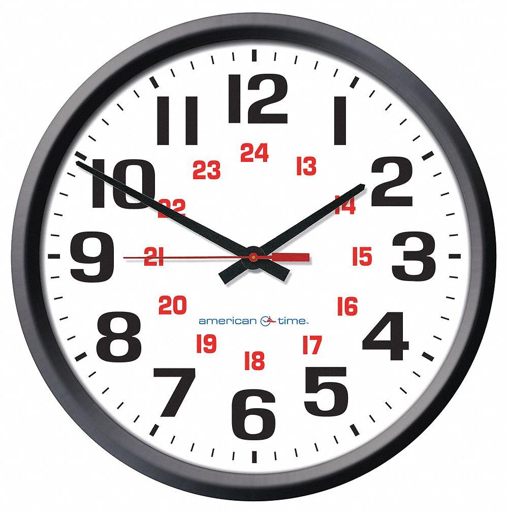 "AMERICAN TIME 13-1/4"" Round Wall Clock Arabic, Black"