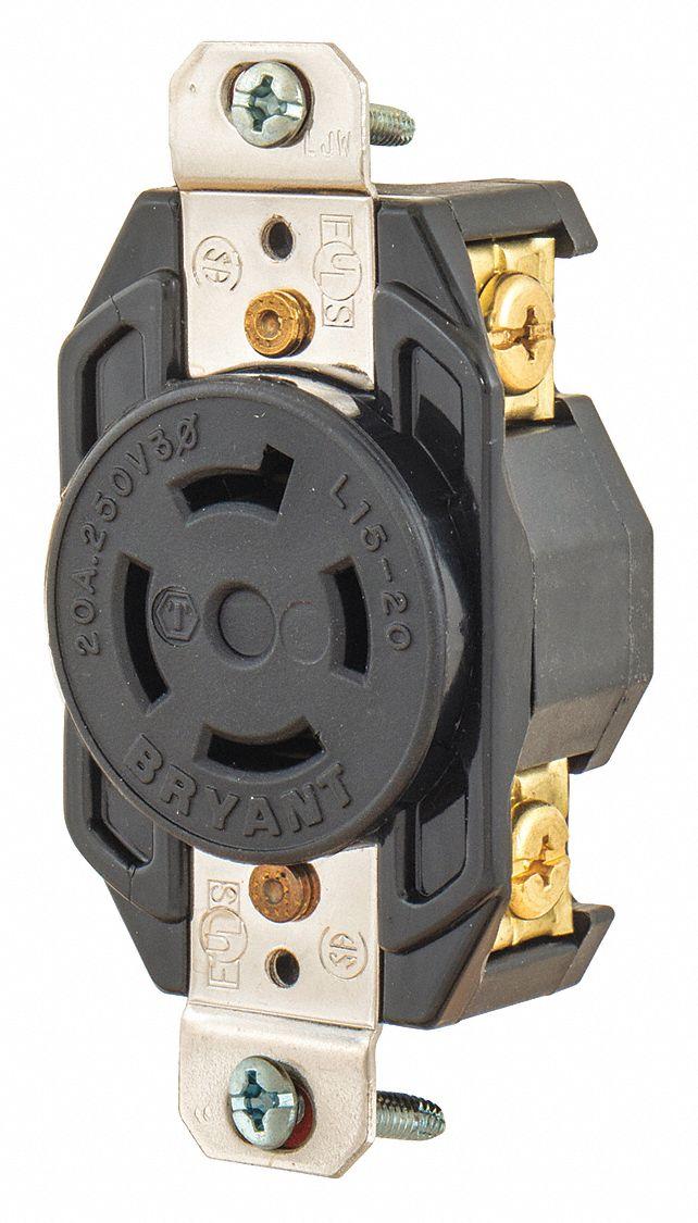 Bryant Black Locking Receptacle 20 Amps 250vac Voltage