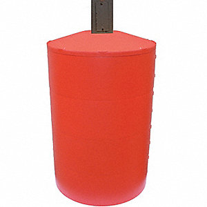 "Light Pole Base Cover, Red, For Post Size 8"", For Post Shape Round"