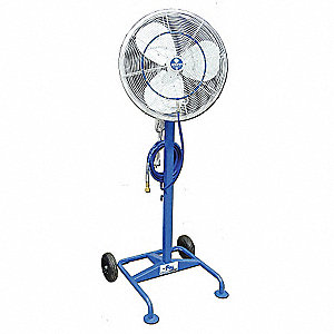 "24"" Industrial Pedestal-Mounted Oscillating Misting Air Circulator"