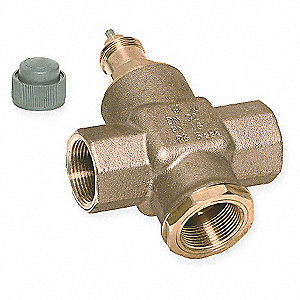 Three-Way,3/4 In NPT Valve,4.9 Cv