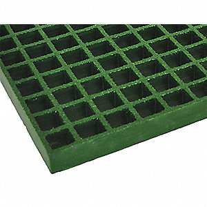 Green Molded Grating, Corvex®, Polyester Resin Type, 5 ft. Span, Grit-Top Surface