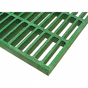 Green Molded Grating, Corvex®, Polyester Resin Type, 3 ft. Span, Grit-Top Surface