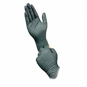 "Greens Disposable Gloves, Nitrile, Powder Free, L, 8.3 mil Palm Thickness, 10-19/32"" Length"