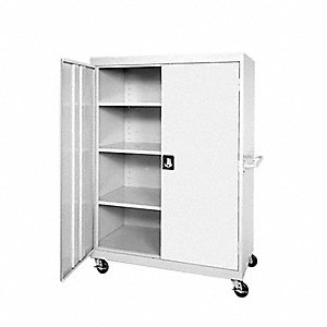 "Mobile Storage Cabinet, Dove Gray, 66"" Overall Height, Assembled"