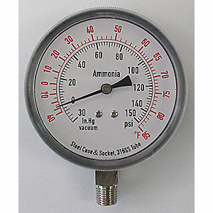 "Compound Gauge, Refrigeration Ammonia Gauge Type, 30"" Hg Vac to 150 psi Range, 3-1/2"" Dial Size"
