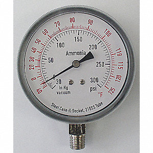 "Compound Gauge, Refrigeration Ammonia Gauge Type, 30"" Hg Vac to 300 psi Range, 3-1/2"" Dial Size"