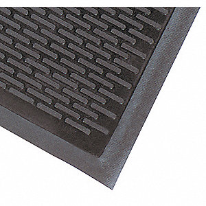 Rubber Entrance Mat,Black,3ft. x 5ft.